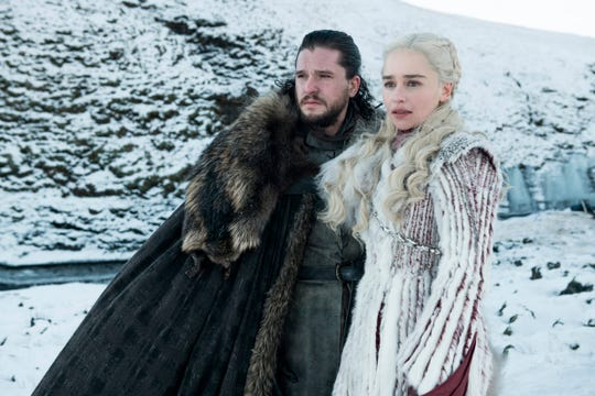 "This photo released by HBO shows Kit Harington as Jon Snow, left, and Emilia Clarke as Daenerys Targaryen in a scene from ""Game of Thrones,"" which premiered its eighth season on Sunday."