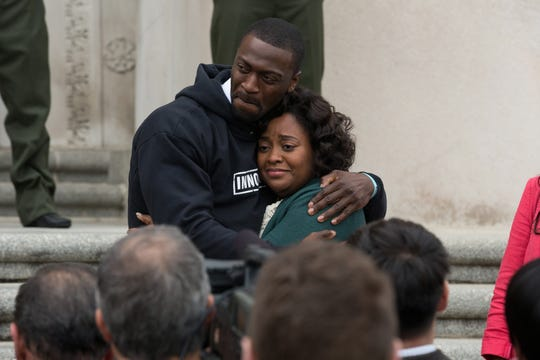 "Aldis Hodge (left, with Sherri Shepherd) stars as a high school football star whose NFL dreams are waylaid when he's wrongfully convicted of a crime in the inspirational drama ""Brian Banks."" (Aug. 9)"