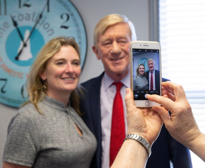 Republican candidate for United States President, Former Governor Bill Weld (R) poses for a photograph following a round table discussion at the New Hampshire Coalition Against Domestic and Sexual Violence, in Concord, New Hampshire, March 26 2019.