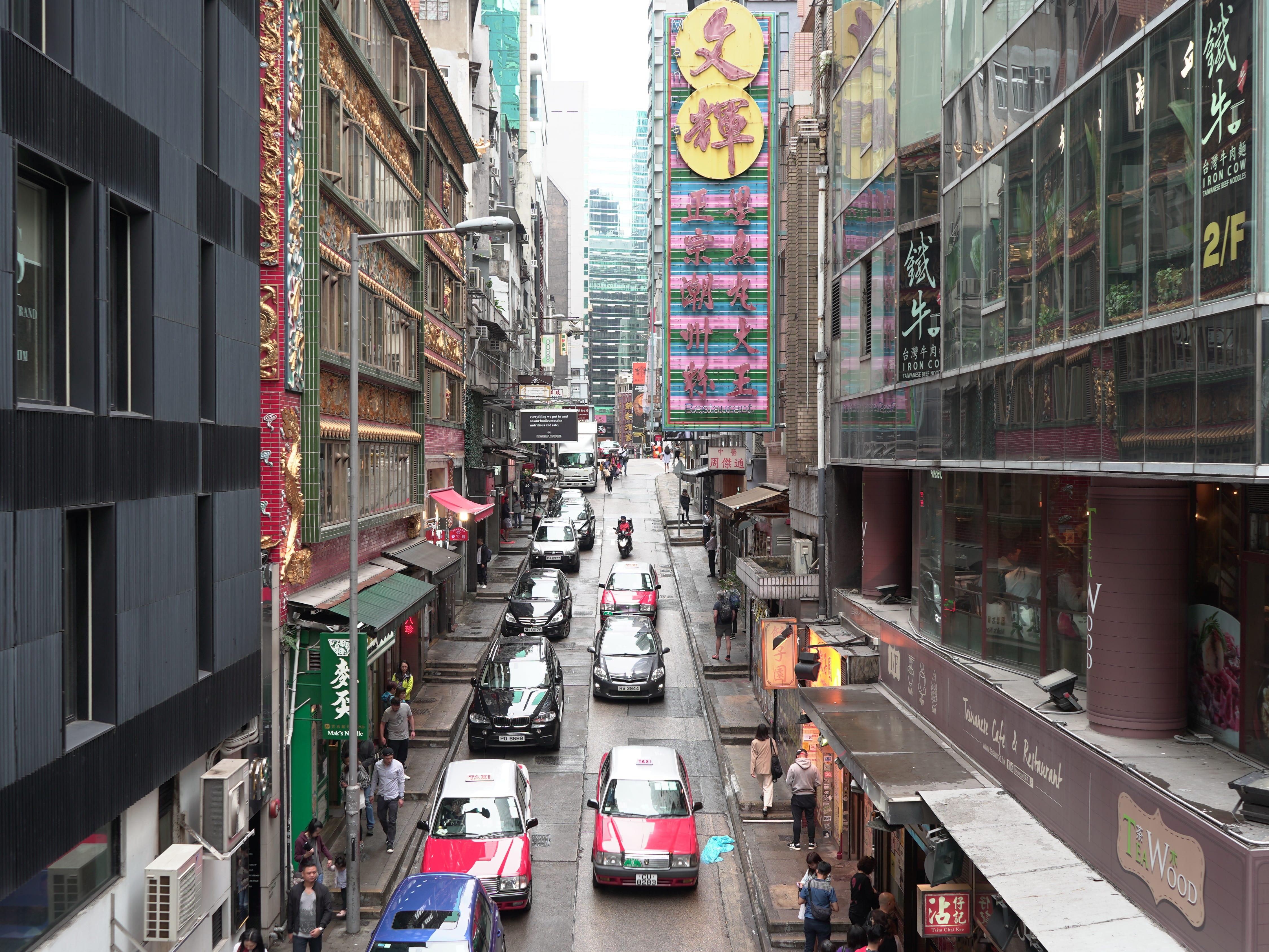 The colorful streets of Hong Kong.