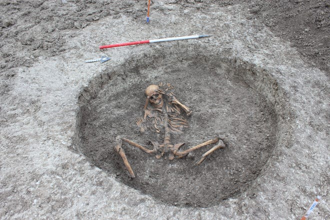 """A team laying pipes at a chalk stream in Oxfordshire, England, uncovered an ancient settlement with 26 skeletons, some of which may have been part of """"human sacrifice,"""" archaeologists said."""
