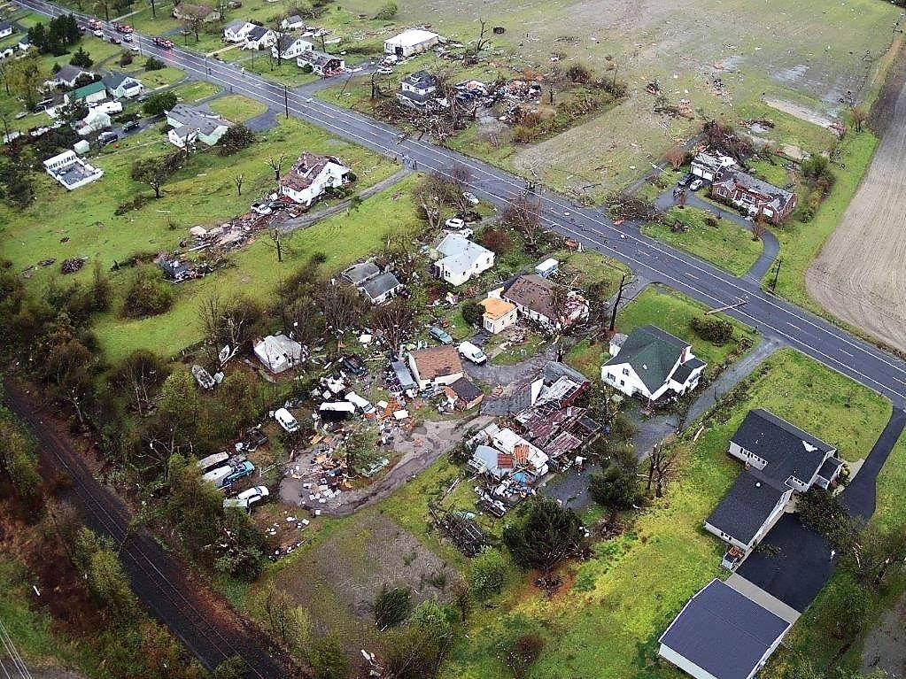 An aerial view of early morning storm damage in Laurel, Del., on April 15, 2019.