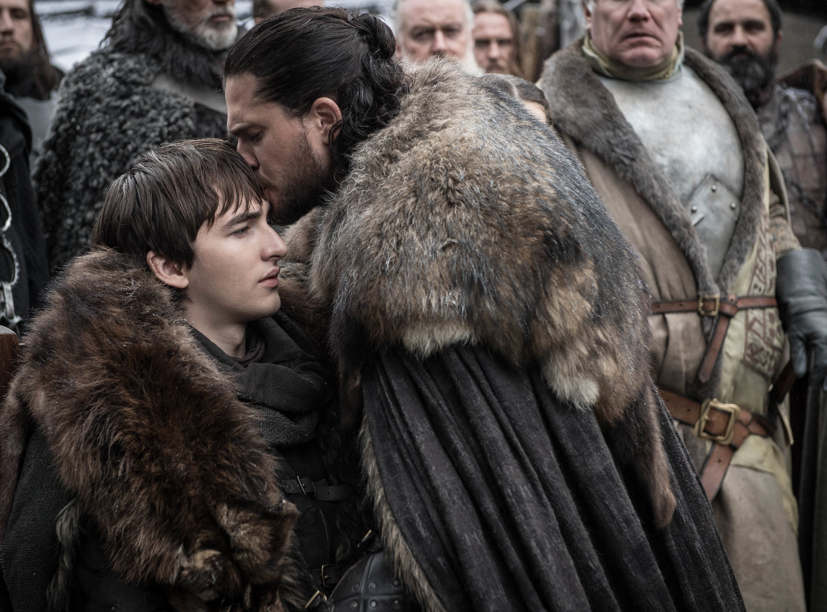 Jon Snow (Kit Harington) is reunited with Bran Stark (Isaac Hempstead Wright).