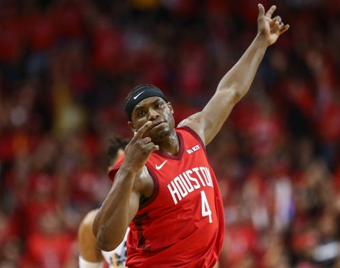 April 14: Danuel House Jr. celebrates a big fourth-quarter during the Rockets' Game 1 victory over the Jazz.