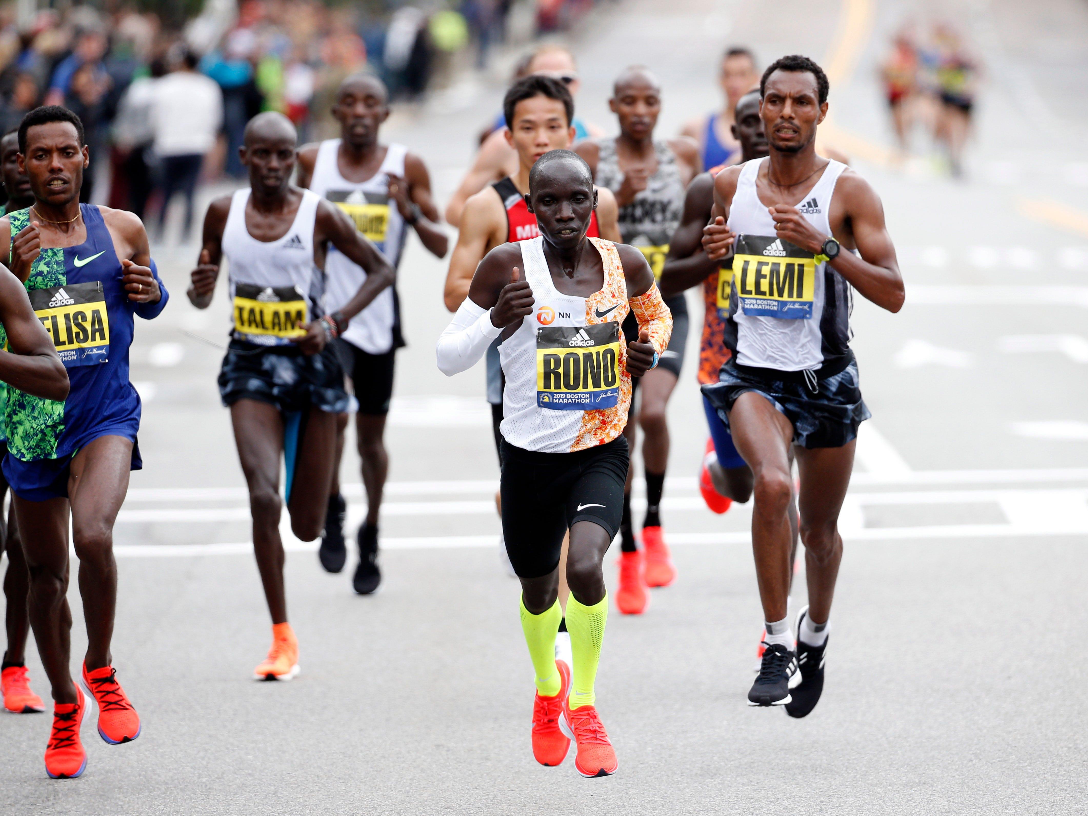 Philemon Rono (KEN) during the 2019 Boston Marathon.