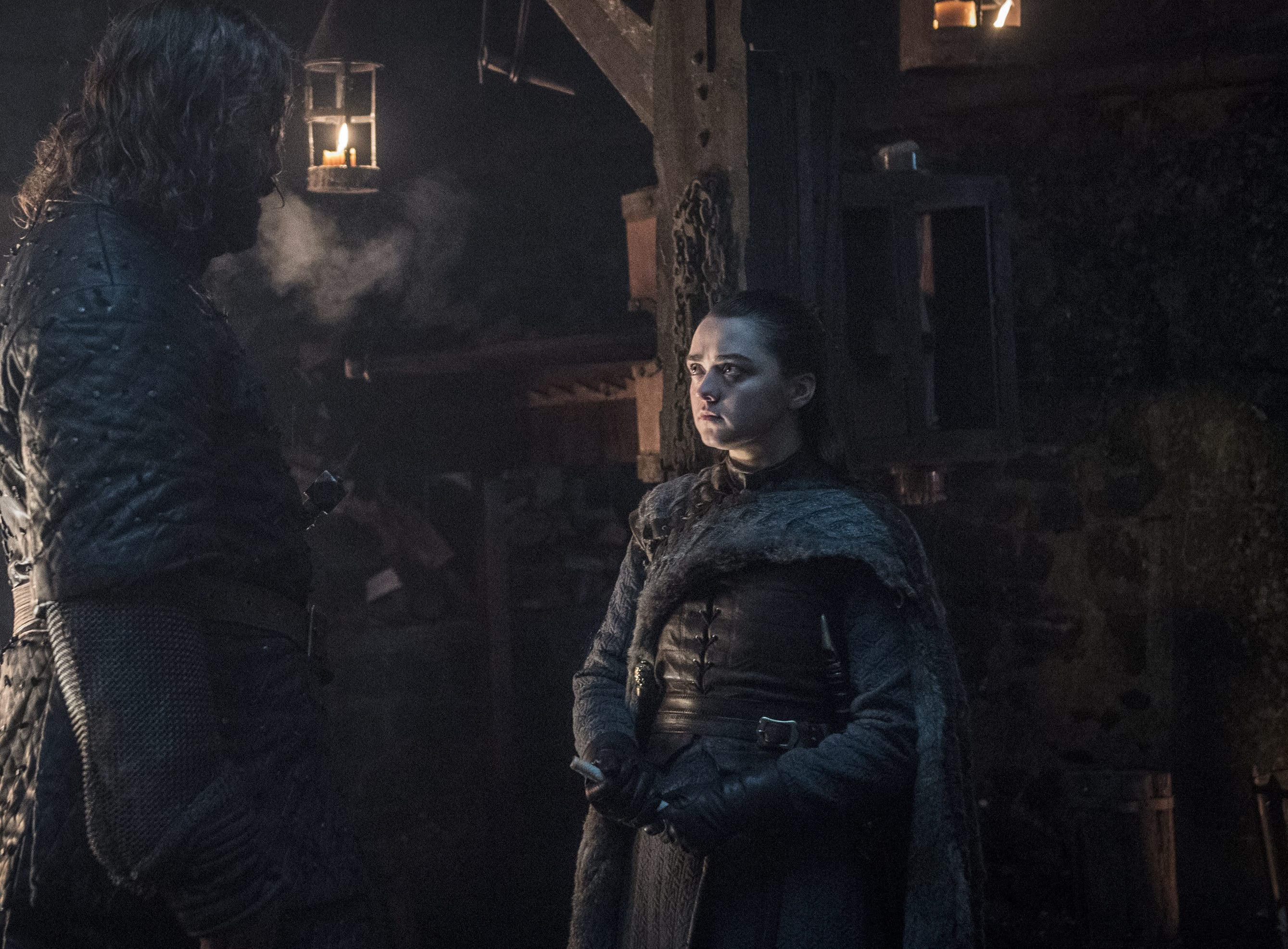 Arya Stark (Maisie Williams) talks to The Hound (Rory McCann) about the last time she saw him.