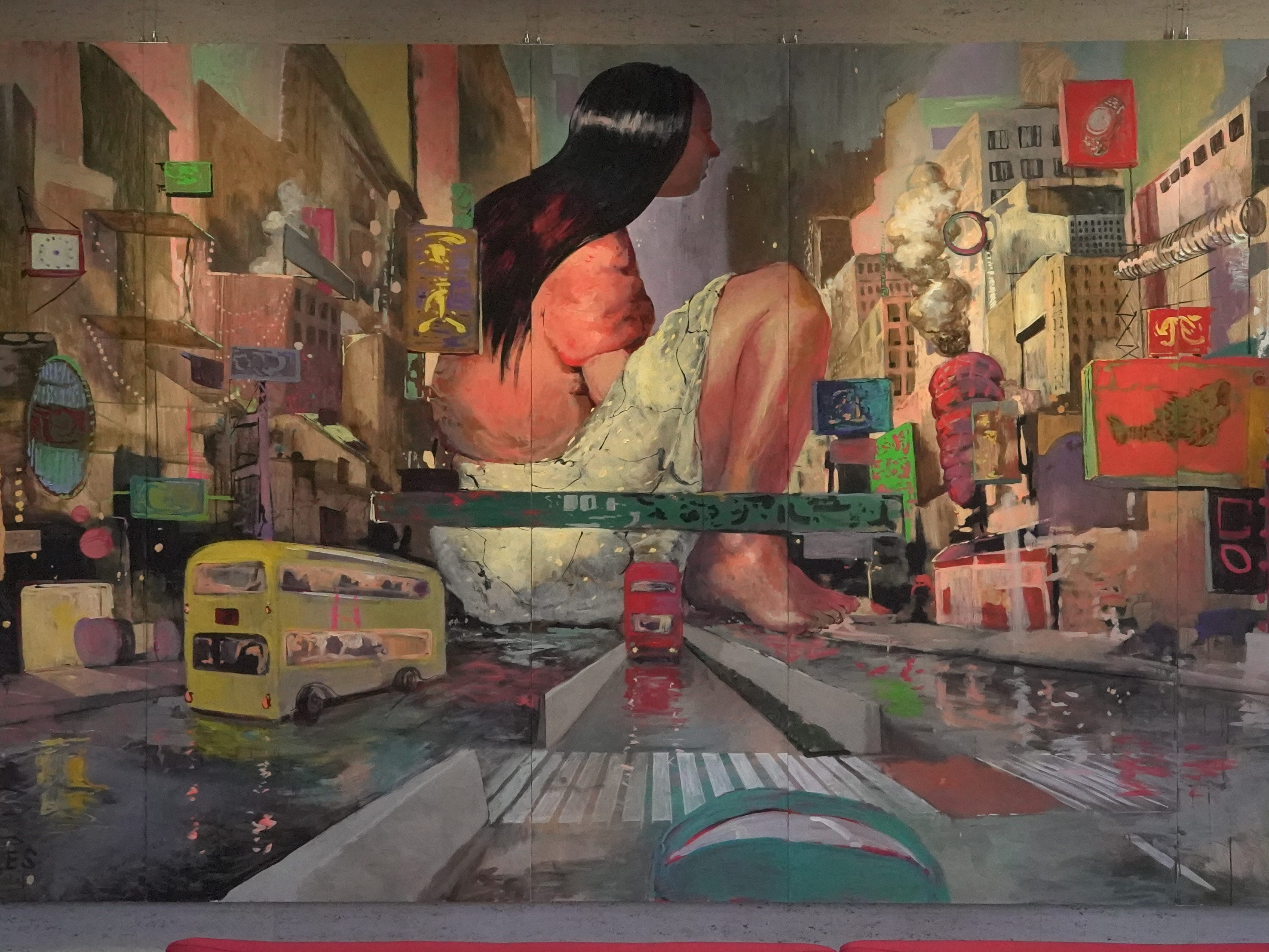 Artwork of a Hong Kong street scene inside the Savannah College of Art and Design.
