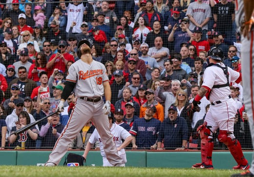 April 14: The Baltimore Orioles' Chris Davis reacts after striking out to end the game against the Boston Red Sox at Fenway Park. The Red Sox won the game, 4-0.
