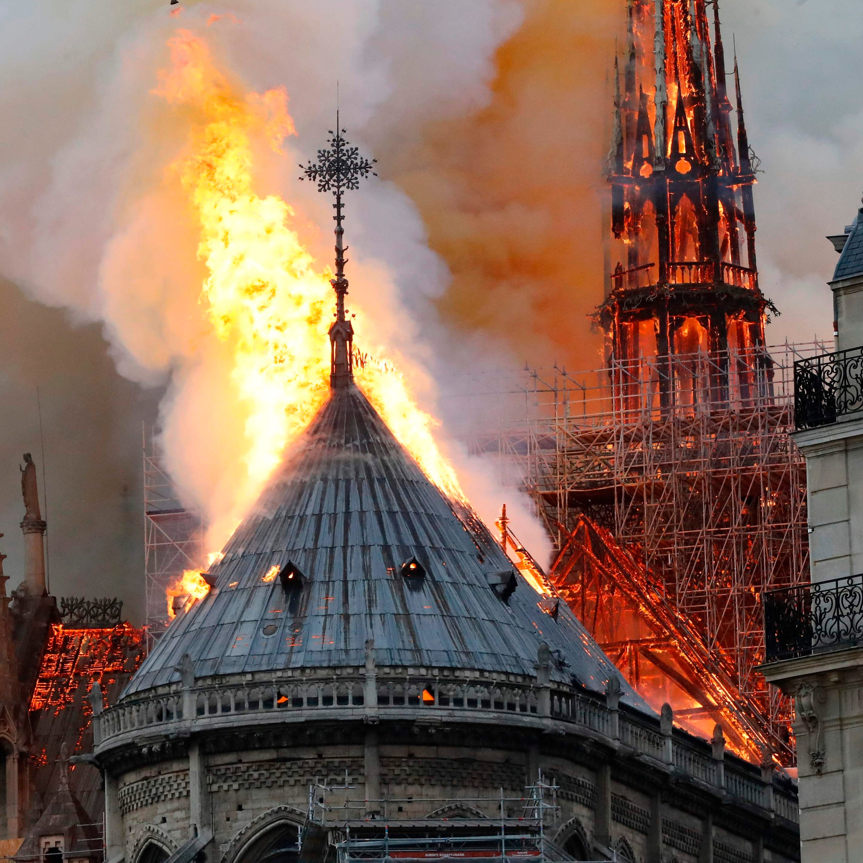 Fire breaks out at top of Notre Dame Cathedral in Paris