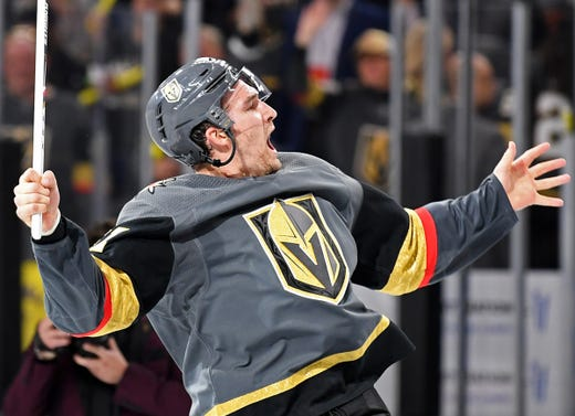 First round: Vegas Golden Knights forward Mark Stone celebrates with the crowd after being named first star in the Game 3 win vs. the San Jose Sharks. Stone recorded a hat trick and added two assists in the victory.