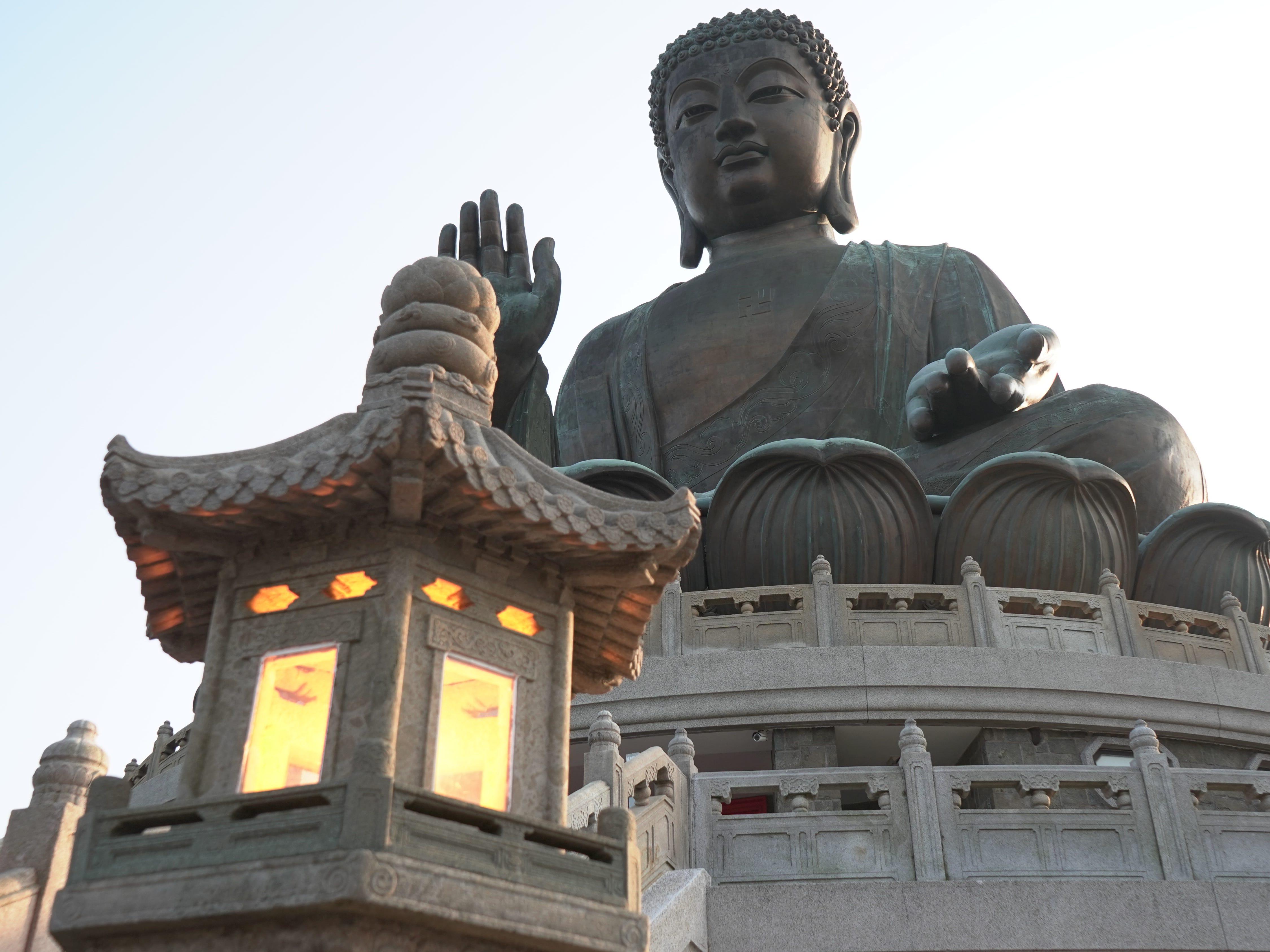 The Big Buddha, high atop his perch on Lantau Island.