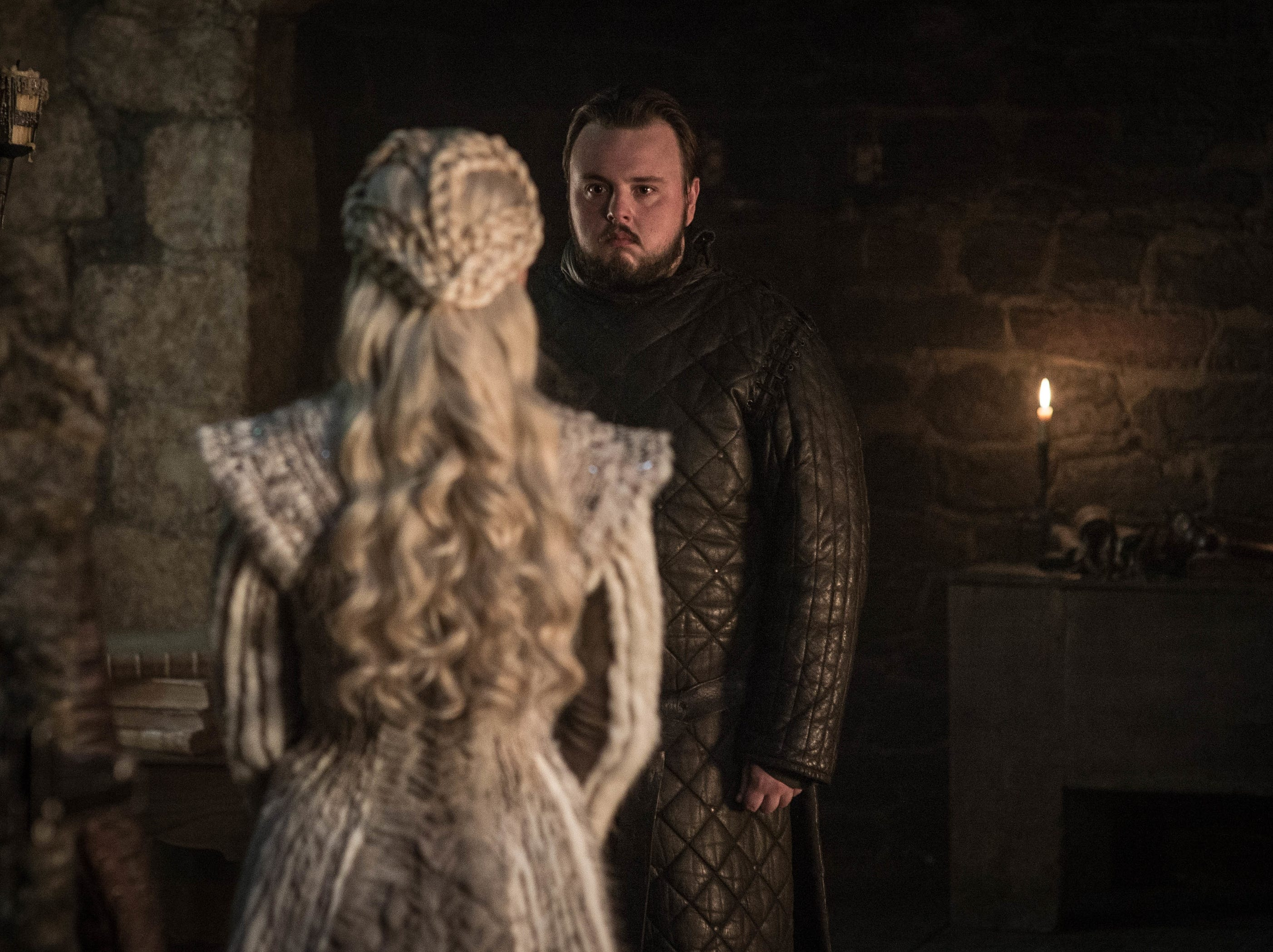 Samwell Tarly (John Bradley) gets some upsetting news from Daenerys Targaryen (Emilia Clarke).