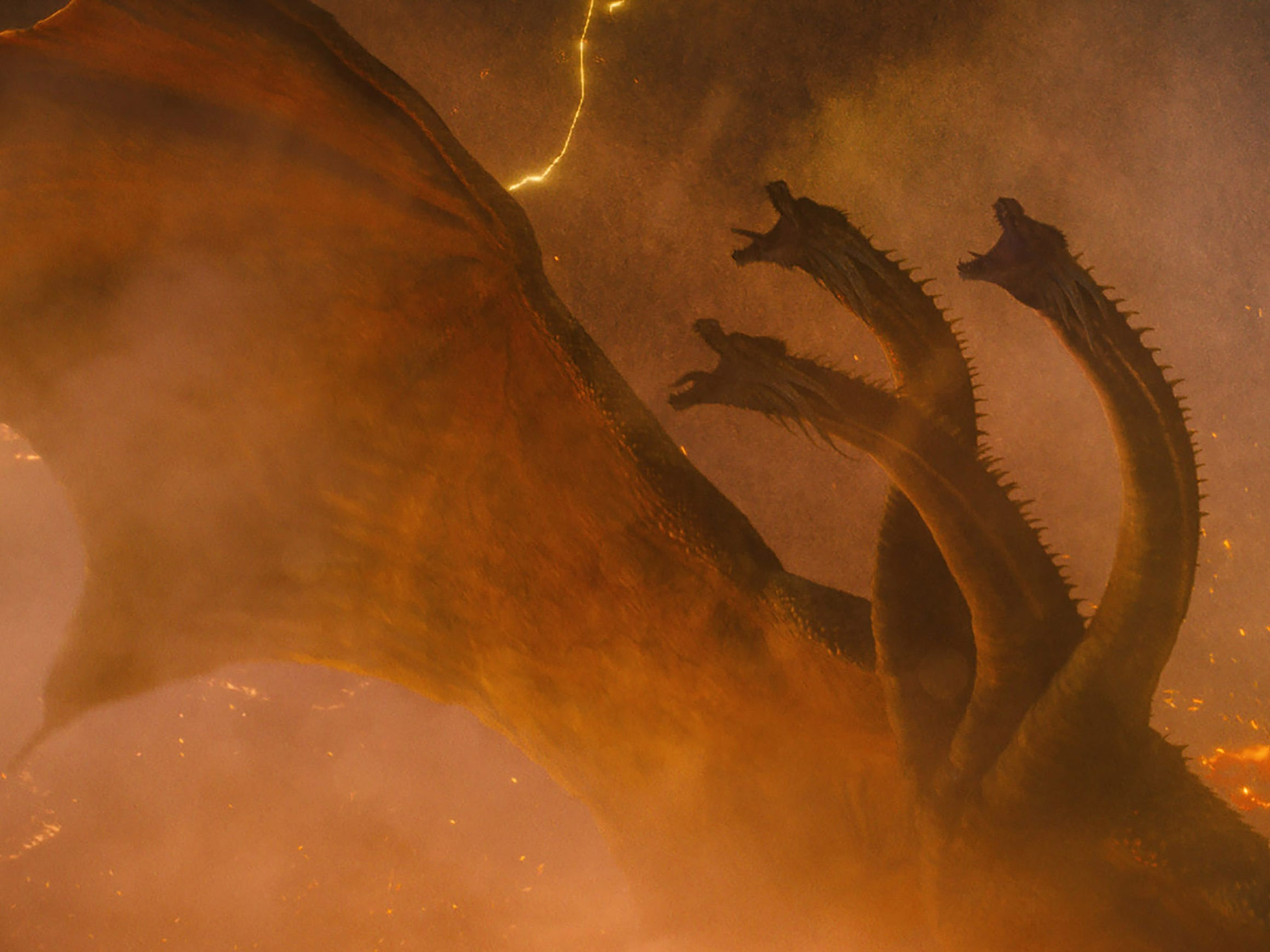 "The three-headed golden dragon Ghidorah is one of the gigantic creatures battling for supremacy in the epic ""Godzilla: King of the Monsters."" (May 31)"