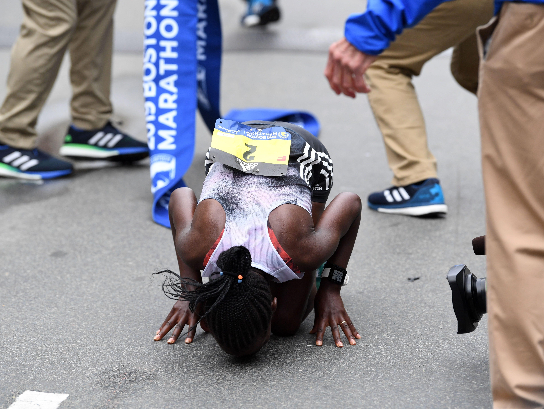 Worknesh Degefa (ETH) reacts after winning the 2019 Boston Marathon.