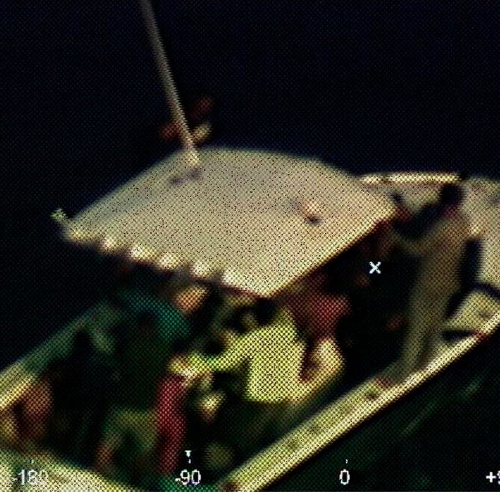 In this photo provided by the Coast Guard, a Coast Guard Air Station Miami HC-144 Ocean Sentry aircrew takes a photo of a disabled vessel that the aircrew located 130 nautical miles (210 kilometers) off Mexico's Yucatan Peninsula on Sunday, April 14, 2019. The U.S. Coast Guard said it worked with a cruise ship to rescue 23 people adrift for days in the Gulf of Mexico. (Petty Officer 3rd Class Brandon Giles/U.S. Coast Guard via AP) ORG XMIT: NYHK709