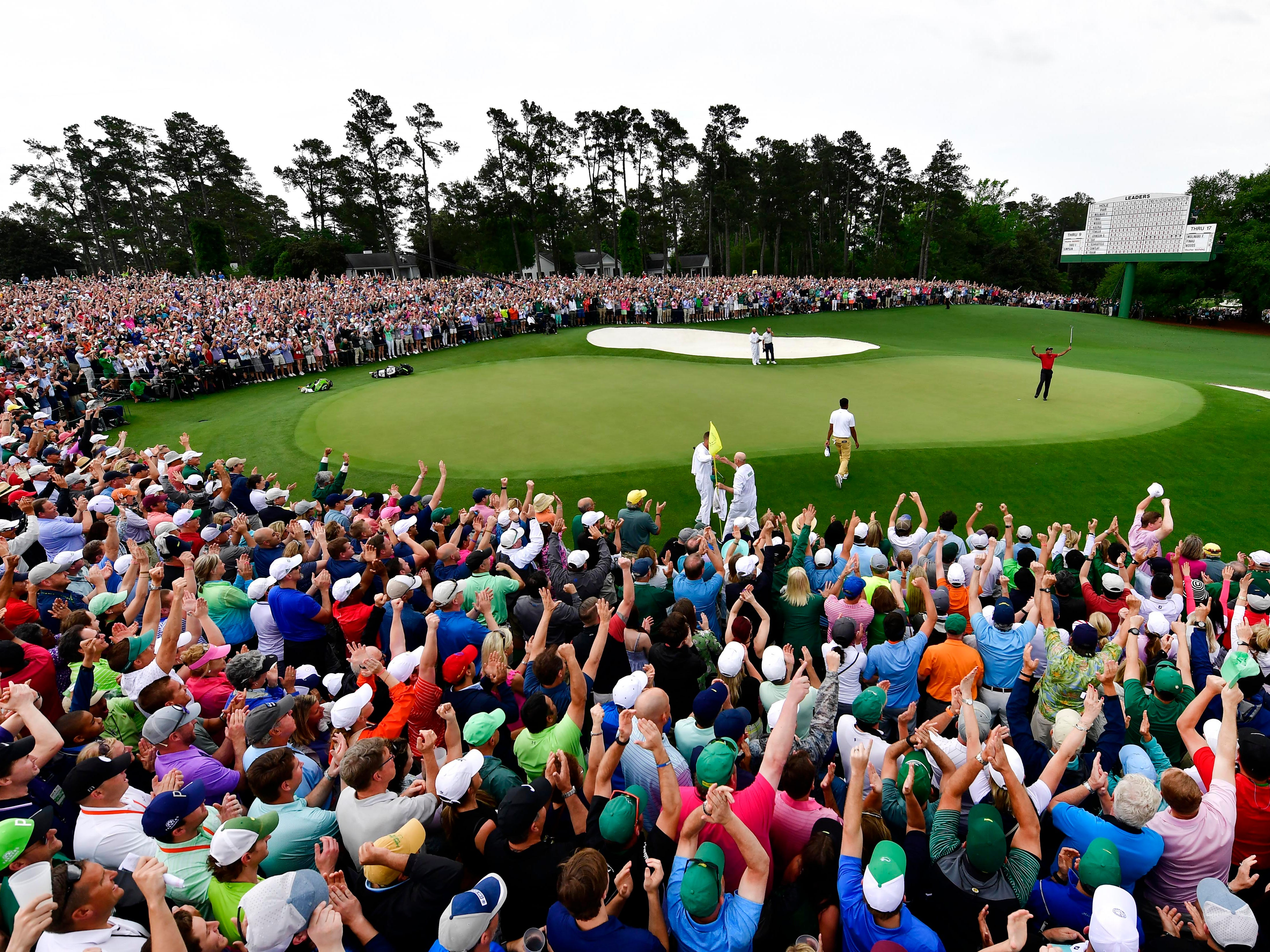 A large crowd gathered to watch Tiger Woods celebrate his win at The Masters.