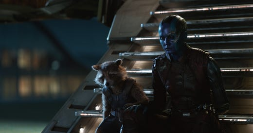 "The summer movie season is upon us again and it's starting out in blockbuster style with the superhero epic ""Avengers: Endgame"" (in theaters April 26), where cosmic warriors Rocket (voiced by Bradley Cooper, left) and Nebula (Karen Gillan) weigh their losses. MARVEL STUDIOS"
