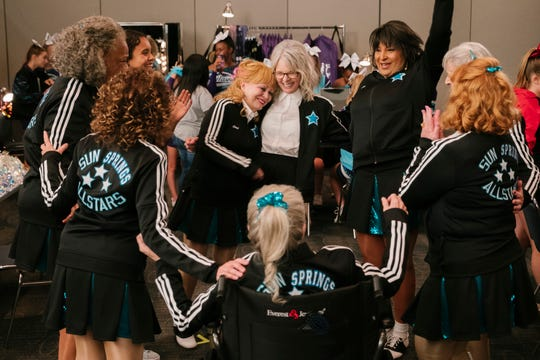 "Jacki Weaver (center left), Diane Keaton and Pam Grier head up a cheerleading squad in their retirement community in the comedy ""Poms."" (May 10)"