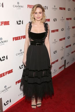 """Larson went in the opposite direction with her dress for the April 13 premiere of """"Free Fire"""" in Hollywood, showing more skin up top."""