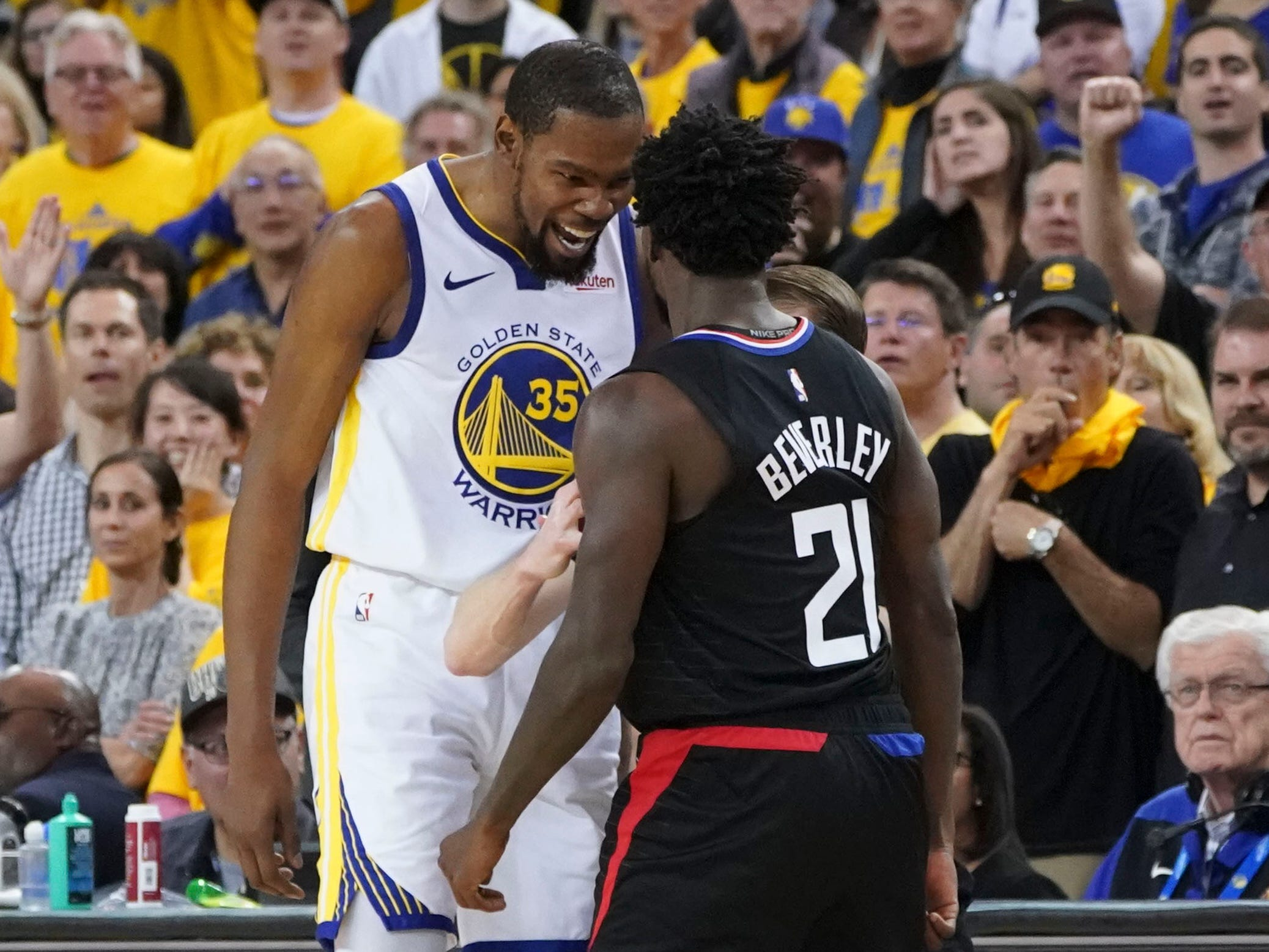 April 13: Warriors forward Kevin Durant reacts after Clippers guard Patrick Beverley loses the ball out of bounds during the fourth quarter in Game 1. Both players were ejected.