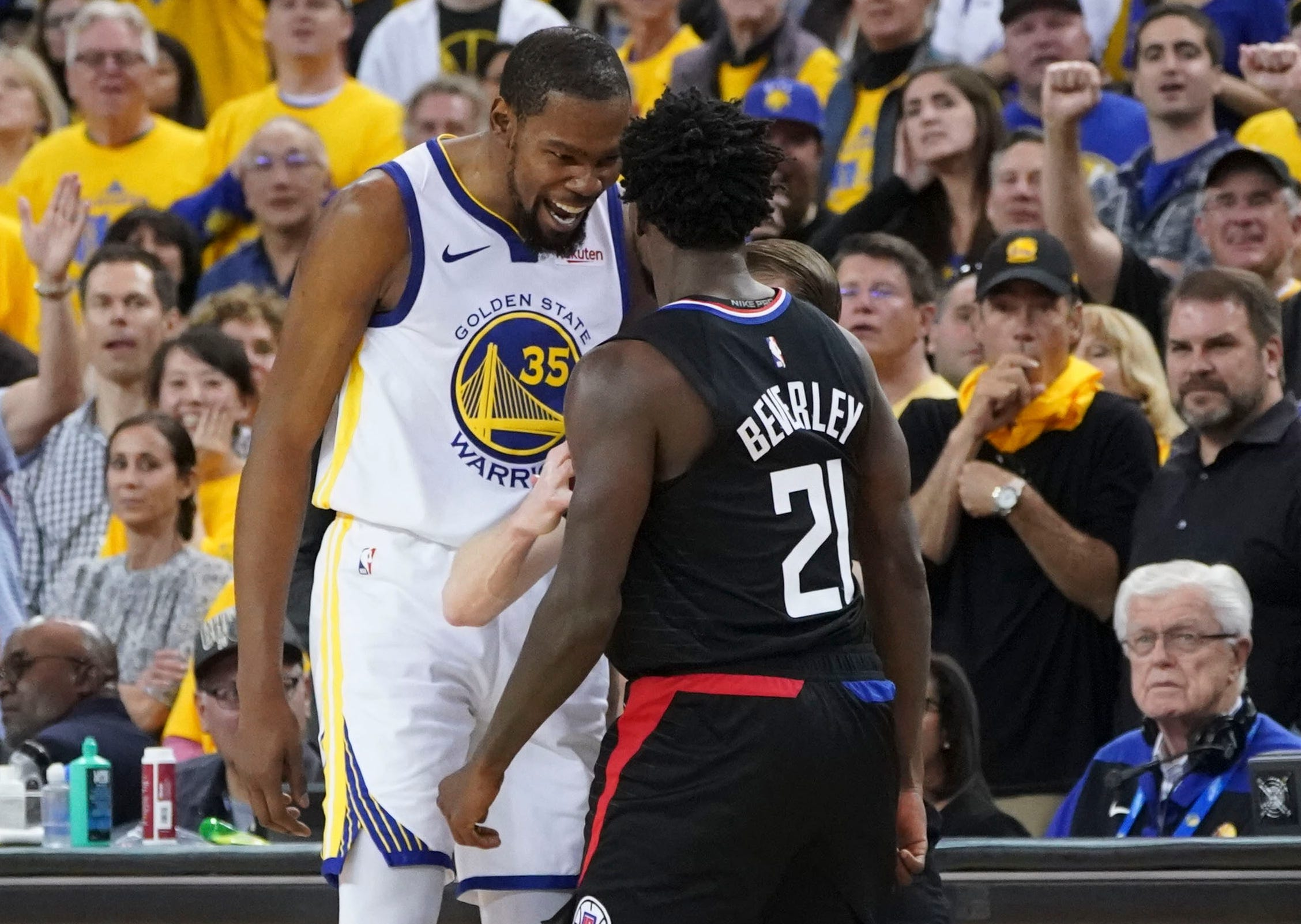 Kevin Durant and Patrick Beverley were both ejected during Game 1.