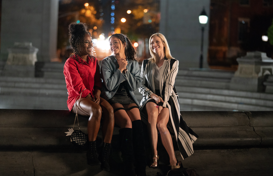 """Gina Rodriguez, center, stars as Jenny, along with close friends played by DeWanda Wise and Brittany Snow in """"Someone Great."""""""