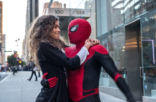 """MJ (Zendaya) caught a ride from Spider-Man (Tom Holland) in """"Spider-Man: Far From Home."""""""