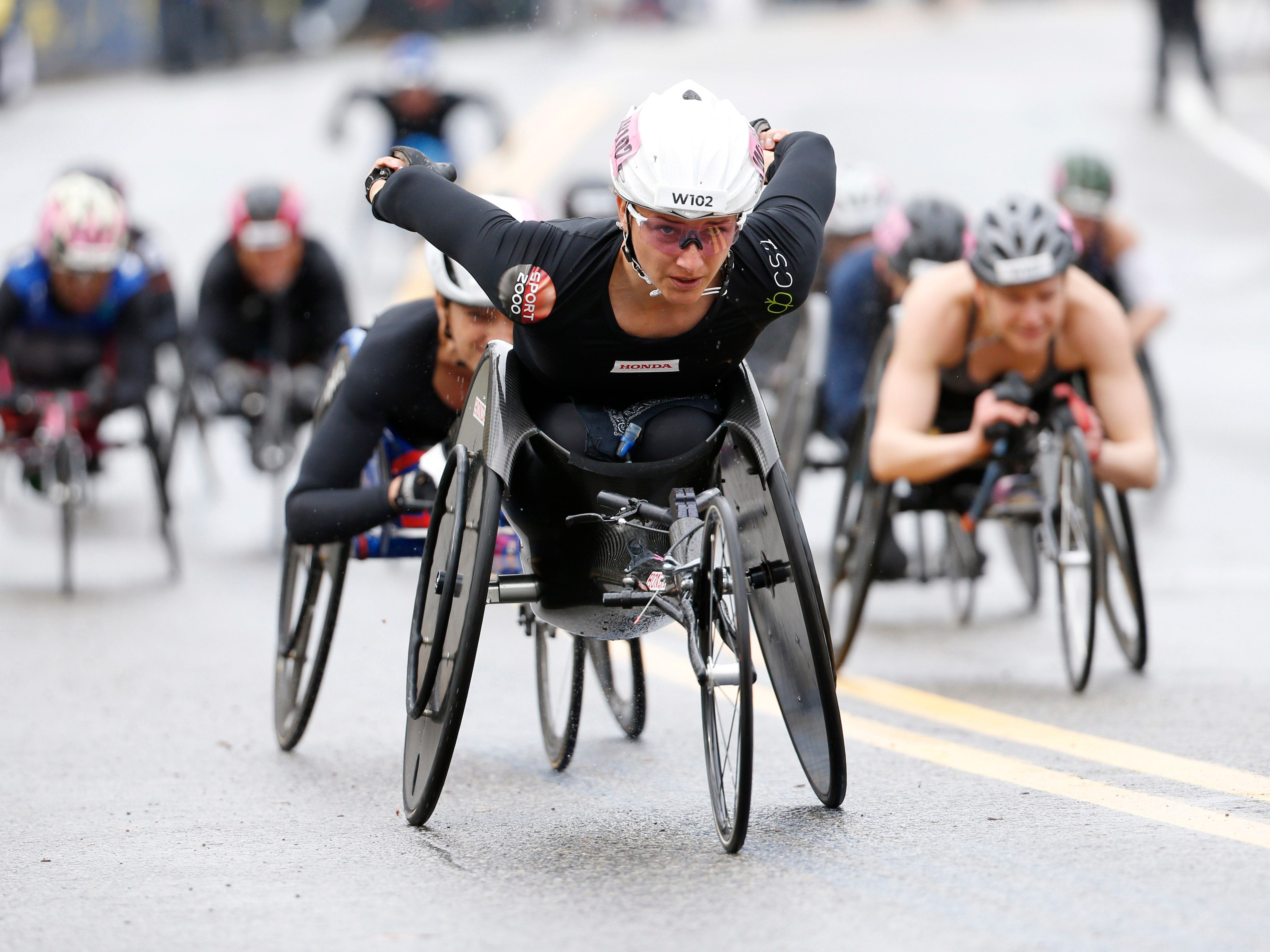 General view of the women's wheelchair division start during the 2019 Boston Marathon.