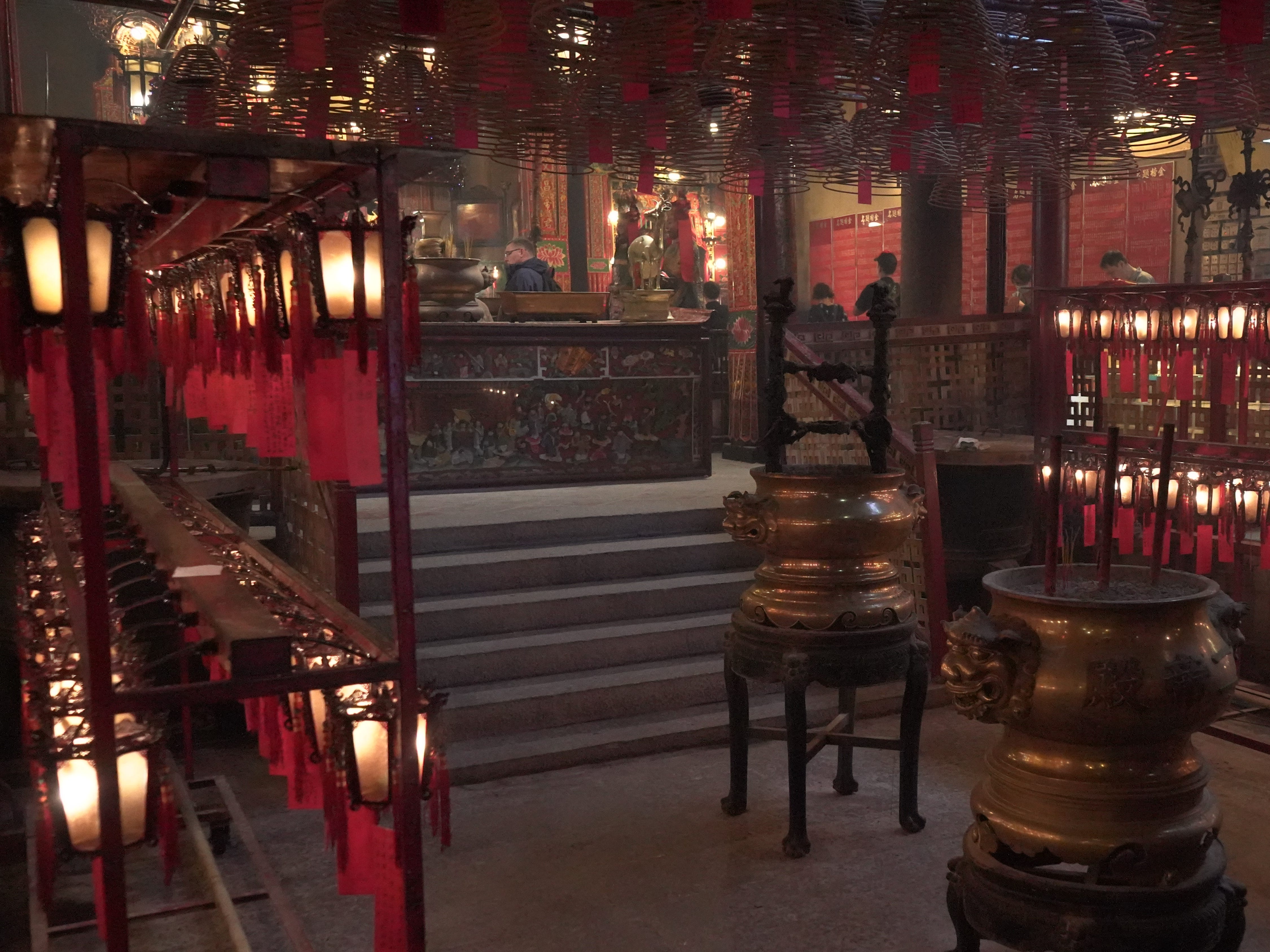 Inside one of Hong Kong's many temples.