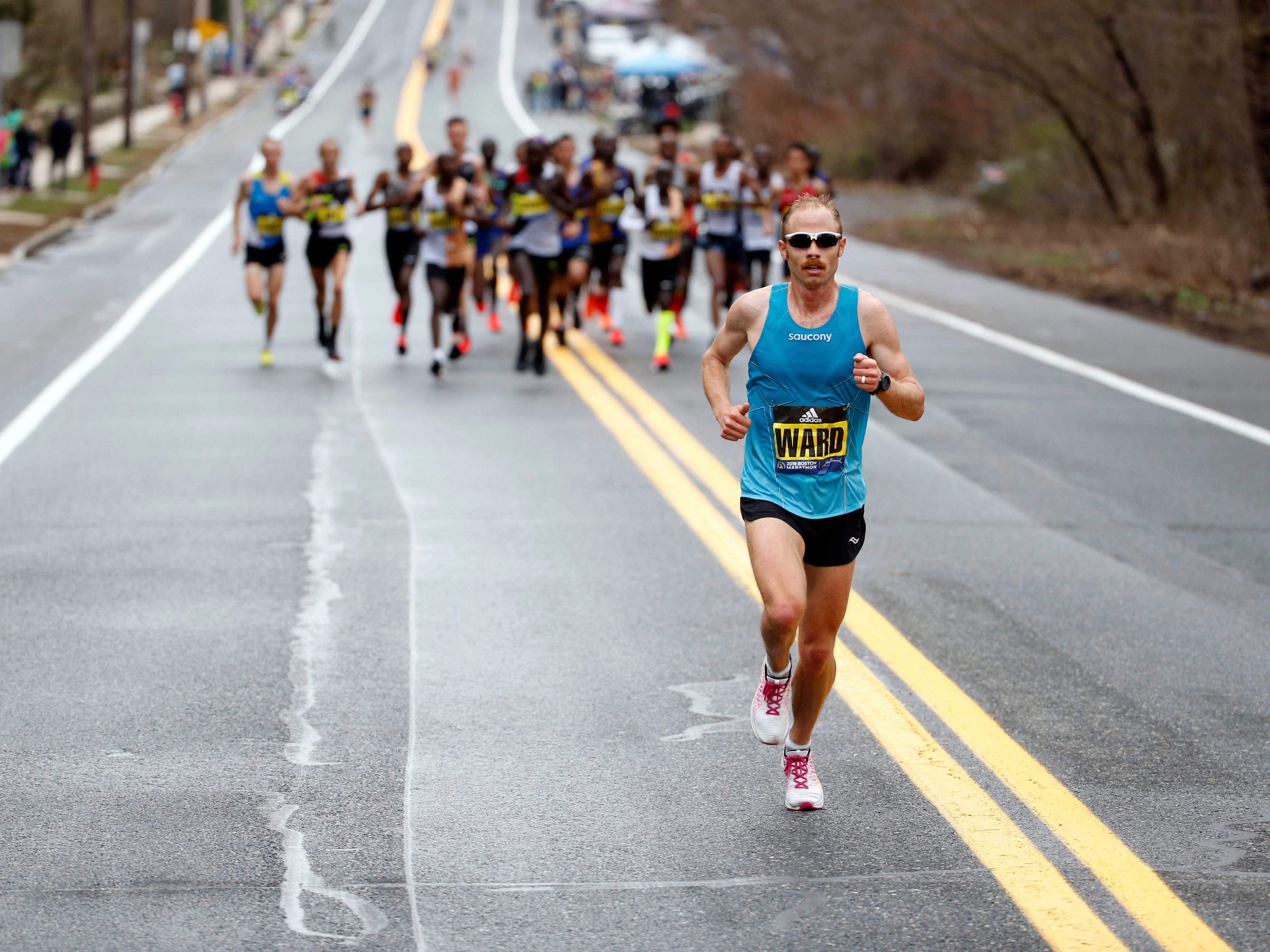 Jared Ward (USA) leads during the 2019 Boston Marathon.
