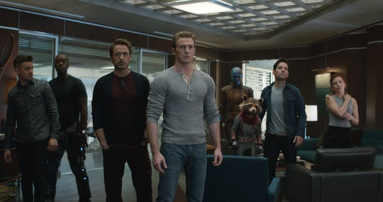 "Captain America (Chris Evans, center) leads a crew including Hawkeye (Jeremy Renner), War Machine (Don Cheadle), Tony Stark (Robert Downey Jr.), Captain Nebula (Karen Gillan), Rocket (voiced by Bradley Cooper), Ant-Man (Paul Rudd) and Black Widow (Scarlett Johansson) to avenge fallen superfriends in ""Avengers: Endgame."""