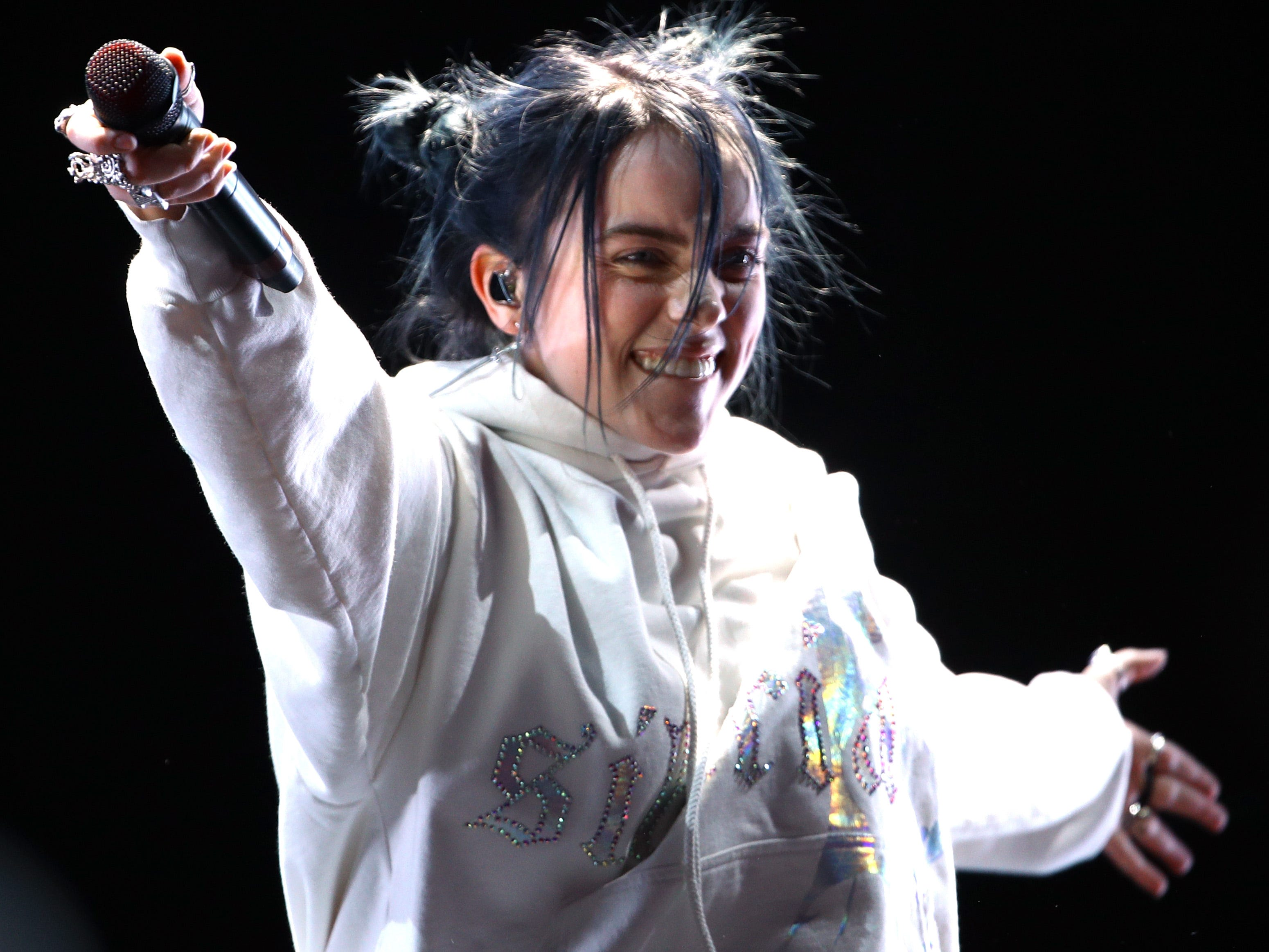 INDIO, CA - APRIL 13:  Billie Eilish performs at Outdoor Theatre during the 2019 Coachella Valley Music And Arts Festival on April 13, 2019 in Indio, California.  (Photo by Rich Fury/Getty Images for Coachella) ORG XMIT: 775277732 ORIG FILE ID: 1137210042