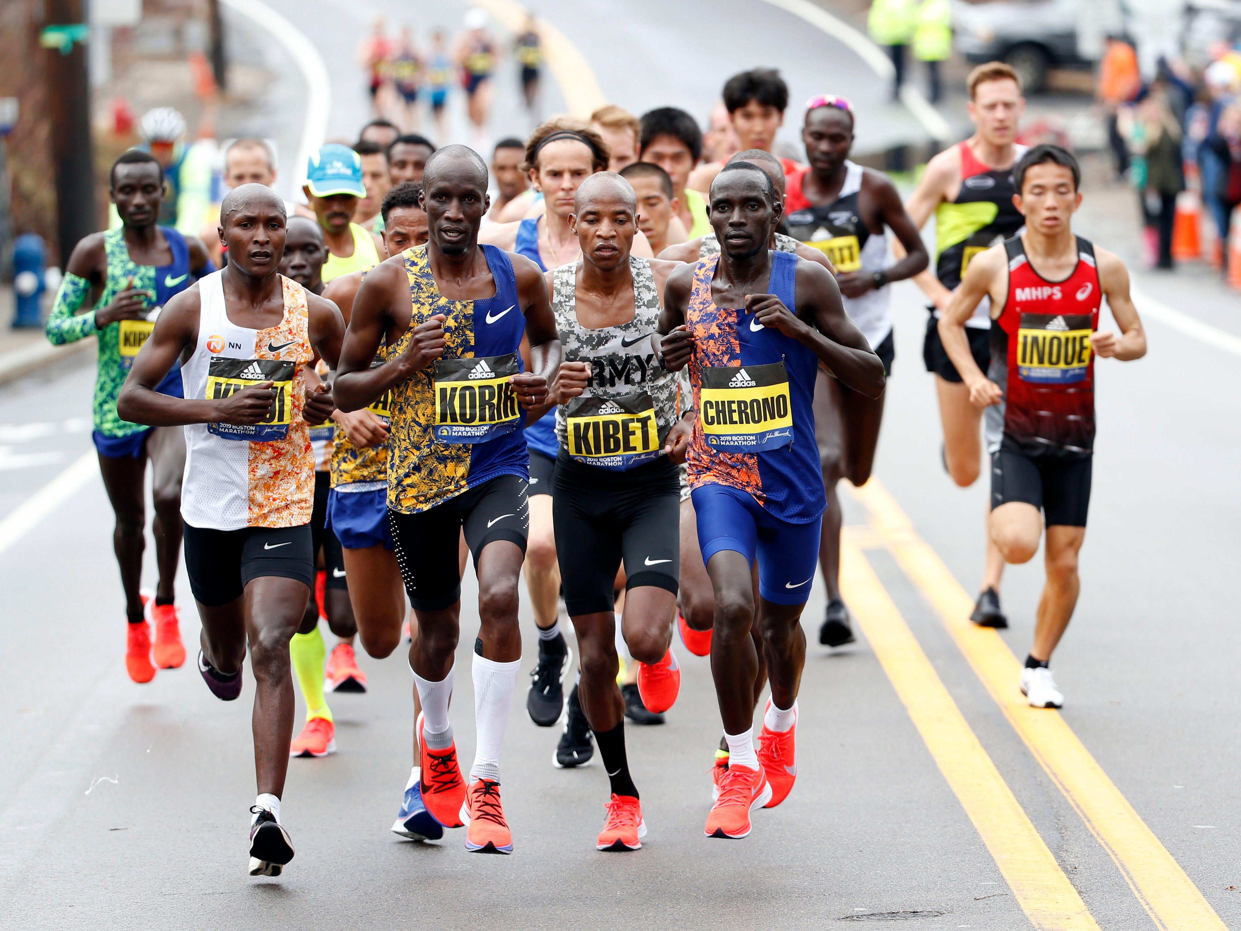 The elite men during the 2019 Boston Marathon.