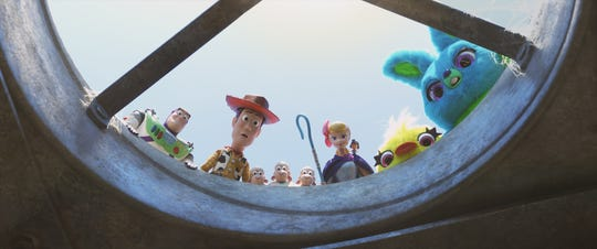 "Bo Peep (voiced by Annie Potts, second from right) and her sheep take on a mission with Buzz (Tim Allen), Woody (Tom Hanks) and new friends as Ducky (Keegan-Michael Key) and Bunny (Jordan Peele) in ""Toy Story 4."" (June 21)"