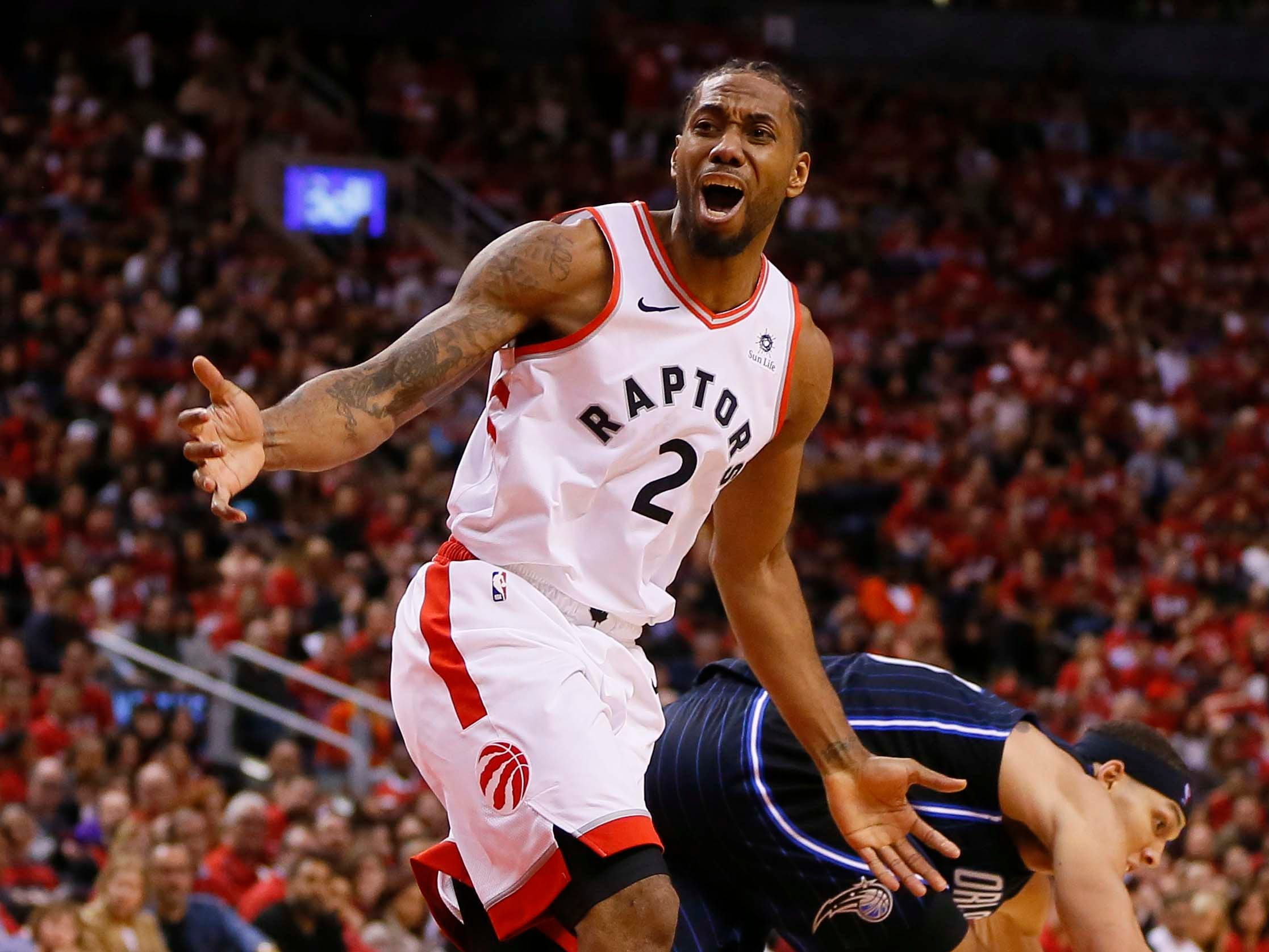 April 13: Raptors forward Kawhi Leonard reacts after a non-call during Game 1 against the Magic.