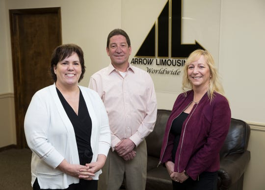 Arrow Limousine is a family-owned business that provides everything from wedding service and birthday celebrations to business outings and airport transportation.  Left to right are Emily Damiano-Peck, Director of Operations, Eddie Somers, President, and Michelle McConville, Director of Marketing. Red Bank, NJTuesday, April 16, 2019