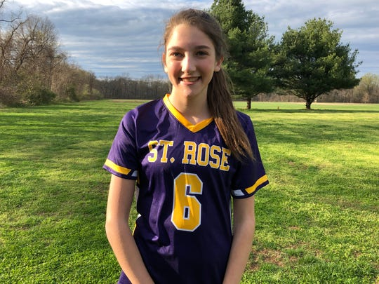 St. Rose's Bella Conforti speaks with the Asbury Park Press following the Purple Roses game with Trinity Hall on April 16, 2019