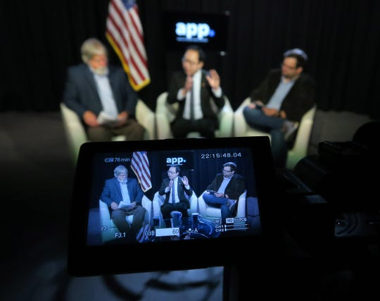 US Congressman Andy Kim (center) participates in a Facebook live show with Asbury Park Press Editorial Page Editor Randy Bergmann (left) and reporter Mike Davis from the Press' Neptune studio Tuesday, April 16, 2019.