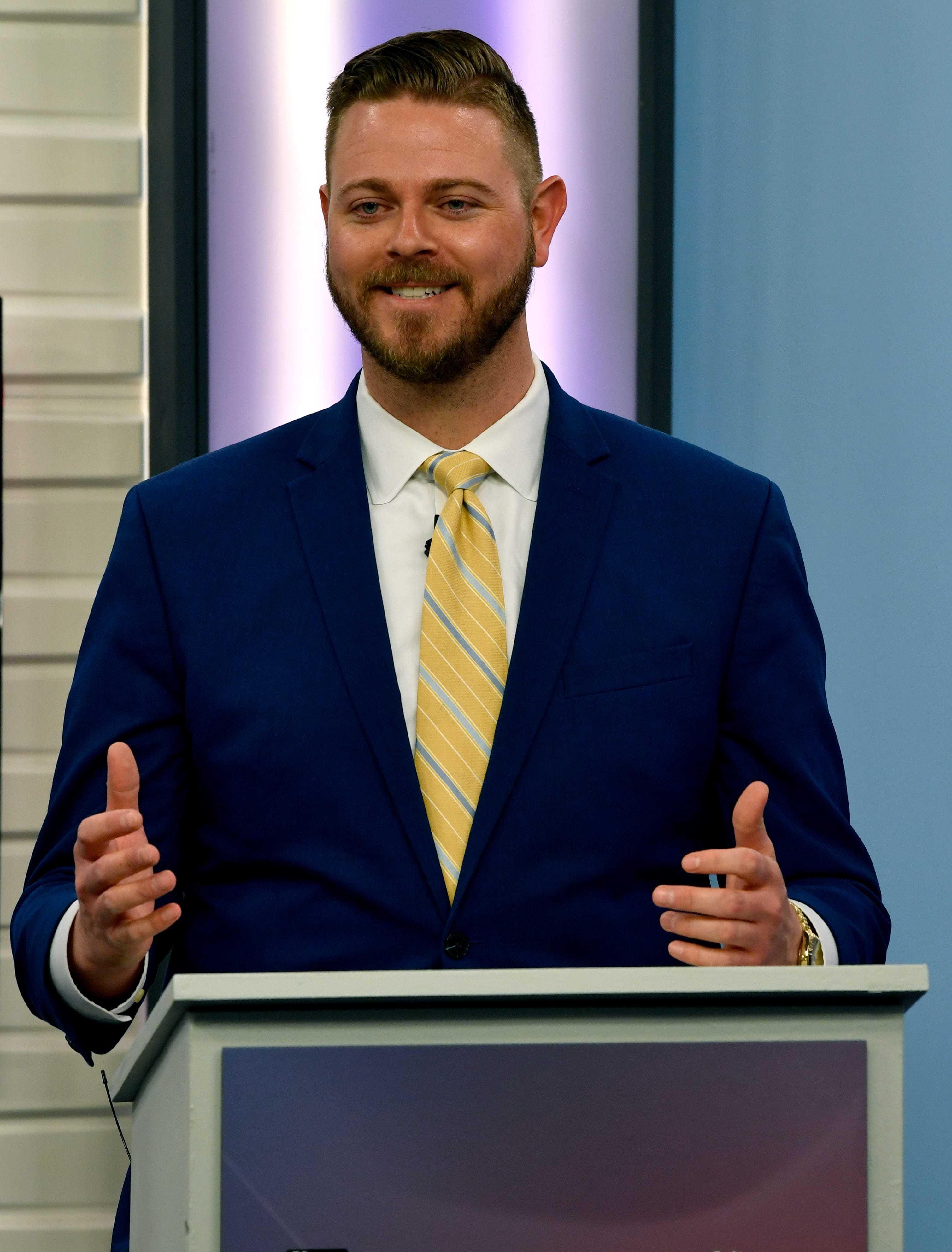 Place 5 Abilene City Council challenger Cory Clement speaks during Monday's joint KTXS - Abilene Reporter-News debate April 15, 2019.