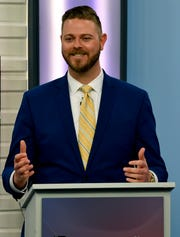 Place 5 Abilene City Council challenger Cory Clement speaks at the debate.