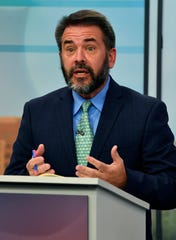 Place 5 Abilene City Councilman Kyle McAlister speaks during the joint KTXS-Abilene Reporter-News debate.