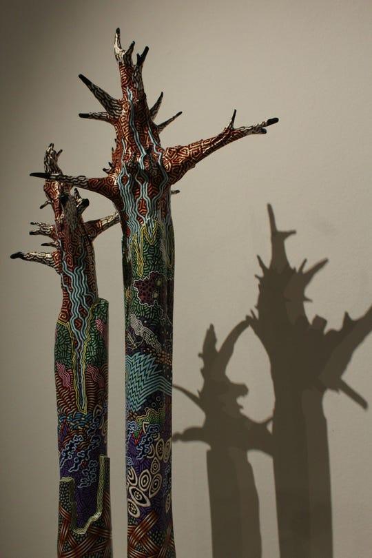 """""""Trees #1 and # 2,"""" acrylic on cedar"""