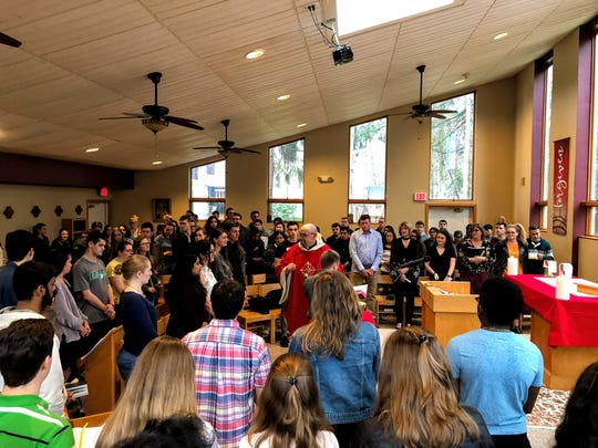 Palm Sunday Mass at the Newman Center, which is located close to Binghamton University and serves as a hub for BU's Catholic community.
