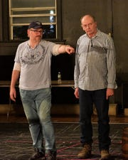 """Nicholas Wuehrmann gives direction to John Shelhart (Dick Deadeye) during rehearsal for Tri-Cities Opera's upcoming production of """"H.M.S. Pinafore."""""""