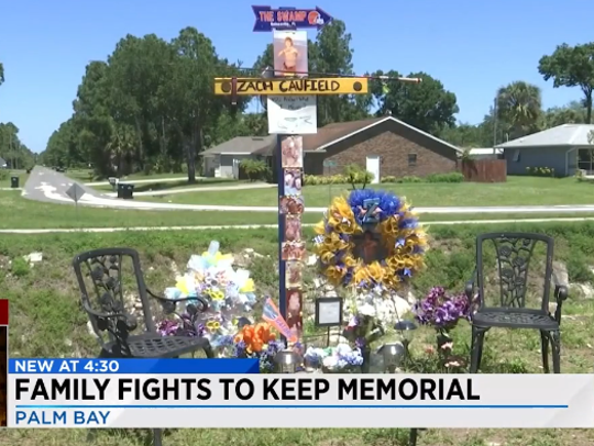 Family of Zach Caufield fights to keep roadside memorial built to honor the teen killed in a January crash.
