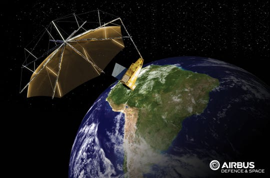 This artist's rendering depicts the  satellite that will study the changing state of global forests, with the Harris mesh reflector.