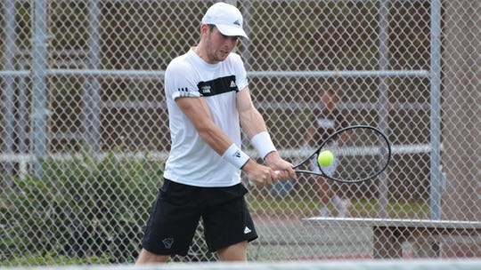 Florida Tech's JJ Clark won his singles flight, 6-3, 7-5, on Monday, April 15, 2019, but the team lost to No. 23 Palm Beach Atlantic, 6-1.