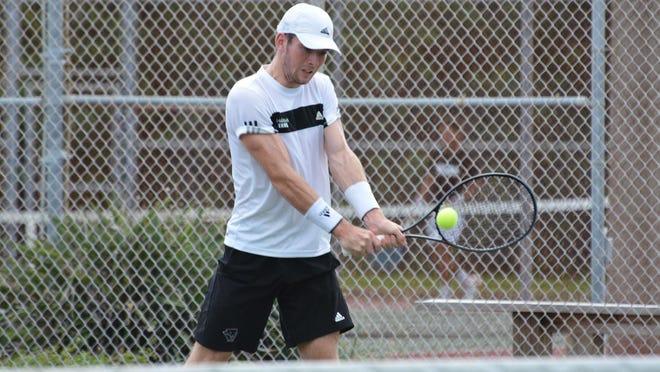 Florida Tech's JJ Clark won his singles flight, 6-3, 7-5, on Monday, April 15, 2019, but the team lost to No. 23 Palm Beach Atlantic, 6-1.