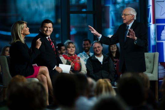 Sen. Bernie Sanders, I-Vt., takes part in a Fox News town-hall style event with Bret Baier and Martha MacCallum, Monday April 15, 2019 in Bethlehem, Pa.