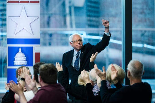 Sen. Bernie Sanders, I-Vt., arrives for a Fox News town-hall style event Monday April 15, 2019 in Bethlehem, Pa.